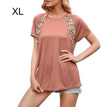 -1111fourone Women T-shirt Print Short Sleeve Round Neck Summer Casual Top, Brown, XL on JD