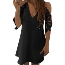 -Women V-Neck Lace Hollow Out Strapless Solid Sexy Sling Dress on JD