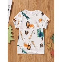 -Summer Casual Little Boys Top Funny Cartoon Animal Print Short Sleeve Round Neck Fashion Kids Shirt on JD
