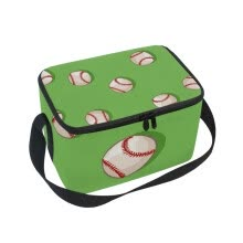 -ALAZA Insulated Lunch Box Baseball Green Background Lunch Bag for Men Women, Portable Tote Bag Cooler Bag on JD