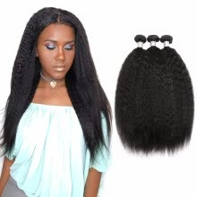 -Nami Hair Brazilian Remy Hair Weaves Kinky Straight 3 Bundles 100% Human Hair Extensions Natural Color on JD