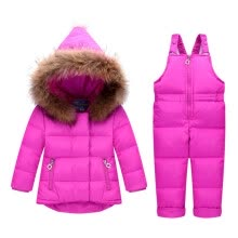 -Winter Children Clothing Sets Jumpsuit Snow Jackets+bib Pant 2pcs Set Baby Boy Girls Duck Down Coats Jacket With Fur Hood on JD