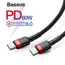 -Baseus PD 2.0  60W Type-c To C USB Cable, QC 3.0 Charging Cable for Samsung Galaxy S9 Plus Note 9 Support  Type-C interface on JD
