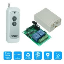 -433MHz DC 12V 2CH Universal 10A Relay Wireless Remote Control Switch Receiver Module and 1PCS 2 Key RF 433Mhz Transmitter Remote C on JD