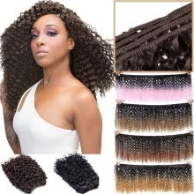 -8 inch Weave Hair Extension Afro Kinky Curly Weft Hair Weave Bundles Synthetic Braid Hair Mambo Twist Ombre Hair for Women on JD