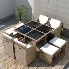 -Outdoor Dinning Set 21 Pieces Gray/Beige Poly Rattan on JD