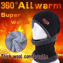 875061442-Fashion Women Men Camping Hat Winter Beanie Baggy Warm Wool Fleece Ski Cap Neckerchief Scarves on JD