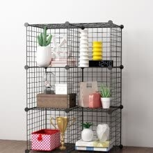 -Black Organizing Bookrack Simply Constructed Steel Wire Mesh Store Cube Storage Rack New Modern Organizer Home Room Furniture on JD