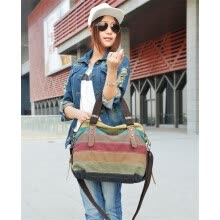 -Retro Men Women Canvas Handbag Color Block Striped Shoulder Bag Crossbody Messenger Bag Tote on JD