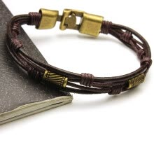 -Fashion Multi-layer Leather Rope Alloy Pendant Bead Woven Bracelet Casual Style for Male and Female on JD