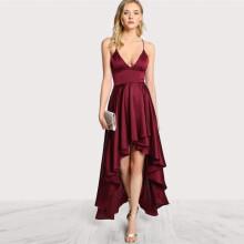 9d9e0cd6b70 COLROVIE 2017 Party Dress Deep V Neck Spaghetti Strap Sleeveless Maxi Dress  Asymmetrical Crisscross Backless High Low Cami Dress