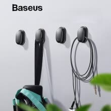 -Baseus 4Pcs Small Car Holder Wall Hooks Hanger Clip  Cable Winder Suction Sup Wall Hooks Hanger Car Sticker Holder on JD