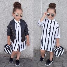 -Striped Toddler Girls Kid Dress Casual Long Sleeve Buttons Shirt Dresses Clothes on JD