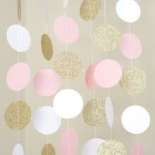 craft-gifts-NEW 10FT Pink White Gold Glitter Circle Banner Polka Dots Paper Garland Bunting on JD