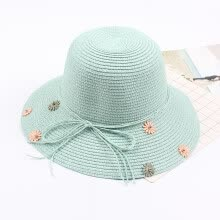 -Women Straw Hat Flower Beading Bow Foldable Sweet Elegant Sun Summer Holiday Beach Vacation Cap on JD