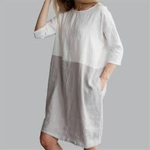 -Baggy Womens Casual Short Sleeve Dresses Cotton Linen Ladies Tunic Tops Dress on JD