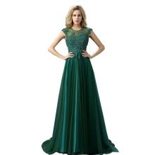 -Hot Selling Good Quality Fashion Dark Green/Wine Red/Red Lace Long Beading Evening Dresses Applique Banquet Elegant Prom Dress on JD