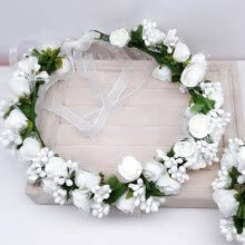 -1 Set Wedding Page Boy Flower Girl Flower Hairband Bracelet Garland Wrist Flowers Lace Hair Ring on JD