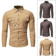 -Mens Long Sleeve Plaid Shirts Casual Button Down Slim Fit Dress T-shirts on JD