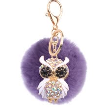 couple-watches-Car Keychain Handmade Cute Creative Plush Owl Rex Rabbit Hairball Crystal Rhinestone Jewelry Bag Pendant on JD