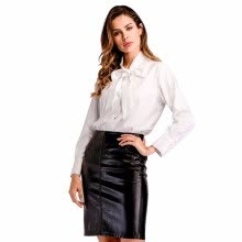 blouses-Women's Shirt Solid Color Bow Decoration Long Sleeve White Top shirts on JD