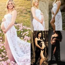 -Maternity Maxi Gown Pregnant Women Lace Dress Photography Photo Props Clothes on JD