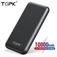 -TOPK 10000mAh Power Bank 18W USB Type C External Batteries QC3.0 PD Two-way Fast Charging Powerbank for Samsung Xiaomi Huawei on JD