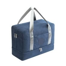 -Luggage Travel Bag Waterproof Portable Double Layer Design Storage Clothes Shoes Bags Bra Underwear Zipper Pouch Navy Blue on JD