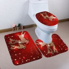 -〖Follure〗3PCS Christmas Bathroom Non-Slip Pedestal Rug + Lid Toilet Cover + Bath Mat Set on JD