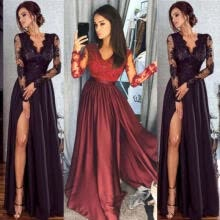 -USA Women Lace Evening Party Ball Prom Gown Formal Cocktail Wedding Long Dress on JD