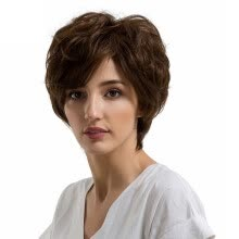 -Gobestart Natural Women Short Texture Hair Wigs Slight Wave Human Hair Female Wigs on JD