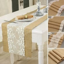 -Burlap Table Runner Rectangle Tablecloth Banquet Wedding Party Vintage Decor on JD