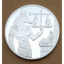 badges-40mm Anubis Egyptian religion Silver Plated Souvenir Coin on JD