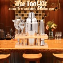 -7pcs Bar Tool Cocktail 550ml Shaker Wooden Stand Bartender Kit Jigger Opener Shaker Tong Drink Mixing for Parties Bar on JD