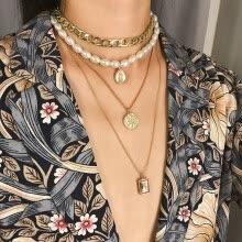 -wave money decoration personality creative exaggeration multi-element vintage multi-layer pearl clavicle Woman necklace on JD