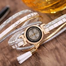 -2017 new fashion luxury ladies bracelet two-ring winding quartz watch tassel pendant diamond table factory direct sales on JD