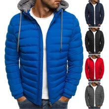 -Mens Fur Collar Down Cotton Coat Hooded Winter Thicken Casual Jacket Warm Parka on JD