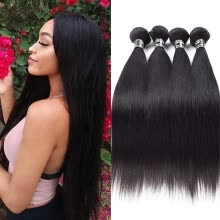 -Amazing Star Virgin Hair Brazilian Straight Hair 4 Bundles Straight Hair Weave Human Hair Extensions Natural Color on JD