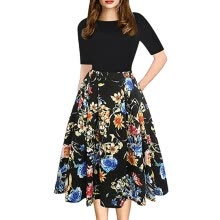 -Summer Women Midi Dress 2018 Elegant Floral Print Sleeve Casual Ladies Dresses Vintage Party Dress Women Clothes on JD