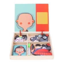 -Baby Wooden Magnetic Puzzle Board Dress Up Games Children Early Educational on JD