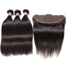 -13x4 Frontal Closure With Malaysian Straight Virgin Human Hair Bundles Pre Plucked on JD