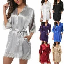 -2019 Silk Satin Kimono Robe Dressing Gown Wedding Bridesmaid Sleepwear Bathrobe on JD