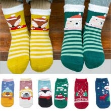 -Hot Baby Boy Girl Cartoon Cotton Soft Ankles Socks Christmas Tree Santa Claus Socks 3 Pairs on JD