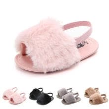 -Newborn Toddler Girl Fur Sneakers Baby Girl Summer Shoes Soft Sole Sandals on JD