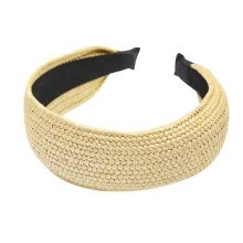 -Bohemian Straw Weaving Hairband Twist Knotted Women Headband Handmade Braided Beach Elastic Wide Cross Hair Hoop Summer on JD