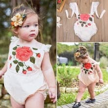 -Toddler Infant Baby Girl Rose Print Romper Lace Outfits Flying Sleeve Clothes Outfits 0-24M on JD