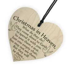 -〖Follure〗1pc 'Christmas in Heaven' Wood Heart Plaque Sign Friendship Home Decoration on JD