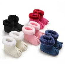 -Infant Baby Girl Winter Cotton Knit Fleece Snow Boots Warm Fur Soft Crib Shoes on JD