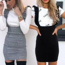 -Womens Bodycon Check Dog Tooth Frill Pinafore Ruffle Dress Bodycon Mini 8-14 UK on JD