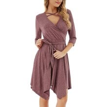 -Women's Autumn Winter Crisscross Dress V-Neck Three Quarter Sleeve Solid Dress Ladies Casual A-Line Dresses on JD
